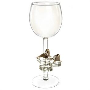"""Винный бокал из стекла ручной работы """"Тюлени"""""""
