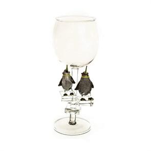 """Винный бокал из стекла ручной работы """"Королевские пингвины"""""""
