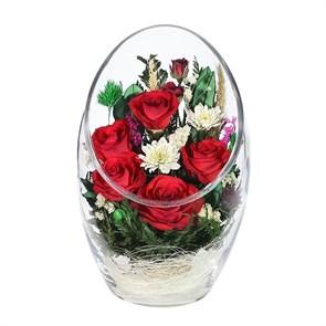 """Цветы в стекле """"Таинственность"""" композиция из роз"""