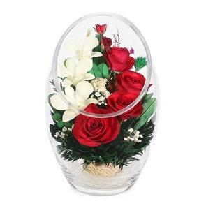 """Композиция из натуральных роз и орхидей серии """"В любви"""" (ArMM1)"""