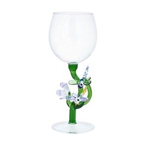 """Винный бокал из стекла ручной работы """"Стрекозы и цветок"""""""