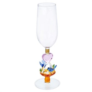 """Бокал для шампанского из стекла ручной работы """"Семейное счастье"""""""