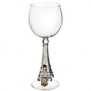 """Винный бокал из стекла ручной работы """"Девушка в Париже"""""""