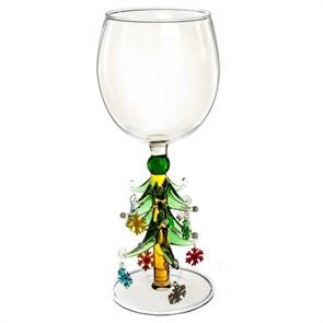"""Новогодний бокал из стекла ручной работы """"Елочка с игрушками"""""""