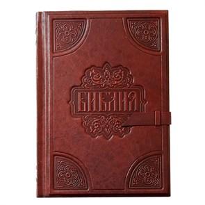 Библия большая в кожаном переплете (золотой обрез) ручной работы