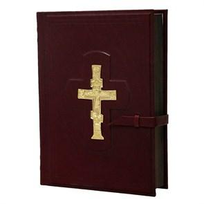 Библия большая с крестом в кожаном переплете