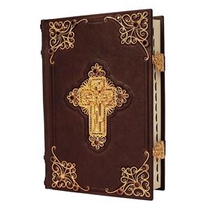 Библия в кожаном переплете с комментариями, филигранью (золото), гранатами