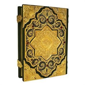 Коран с филигранью (золото), литьем и гранатами в кожаном переплете