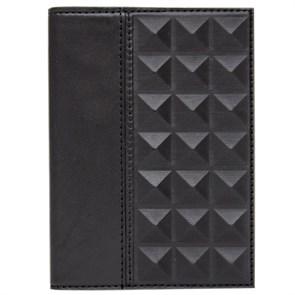 Обложка для паспорта «Геометрия» из натуральной кожи, черная