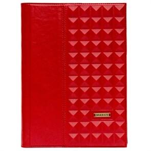 Ежедневник А5 «Геометрия» из натуральной кожи, красный