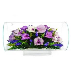 """Цветы в стекле """"Маркиза"""" композиция из орхидей (арт. TJO3) фото"""