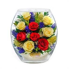 """Цветы в стекле """"Конфетка"""" композиция из натуральных роз"""