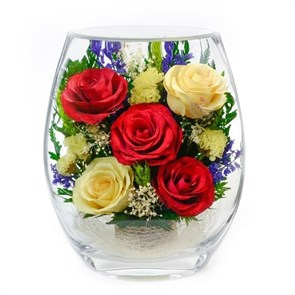 """Цветы в стекле """"Пчёлка"""" композиция из натуральных роз"""
