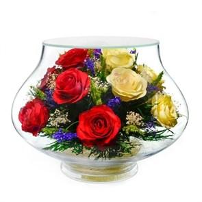"""Цветы в стекле """"Престиж"""" из красных и желтых роз (арт. LLR5c-02)"""