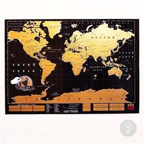 Скретч-плакат TRUEMAP BLACK - Черная Скретч-карта Мира DELUXE