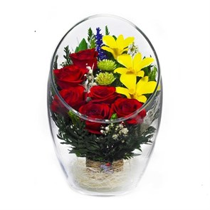 Композиция из натуральных красных роз и орхидей ArMM3