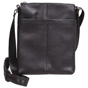Сумка-планшет мужская из натуральной черной кожи с наплечным ремнем
