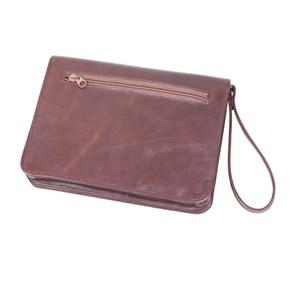 Стильная сумка для документовиз натуральной кожи, цвет коричневый