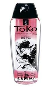 Ароматический съедобный лубрикант- смазка Shunga Toko Strawberry&Champagne/ Клубника с шампанским, 165 мл