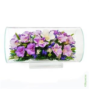 """Цветы в стекле """"Маркиза"""" композиция из орхидей (арт. TJO8)"""
