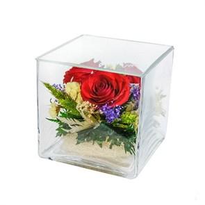 """Композиция из натуральных роз в стекле """"Квадрат"""" (SqMR)"""