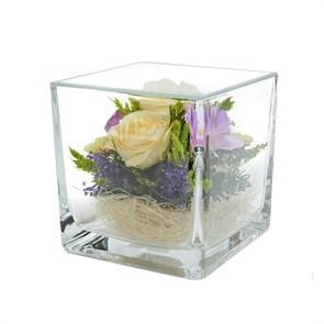 """Композиция из натуральных роз и орхидей в стекле """"Квадрат"""" (SqMM1)"""