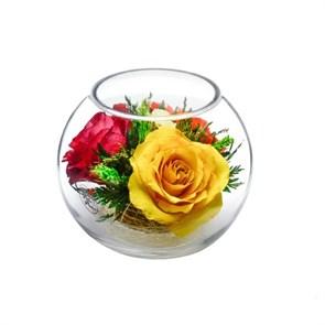Композиция из красной, оранжевой и желтой розы (арт. BSR5c1)