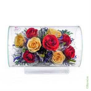 Композиция из  красных и желтых роз (арт.TLR5с2)