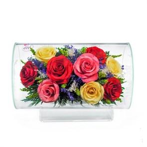 Композиция из разноцветных роз в колбе (арт.TLR5с3)