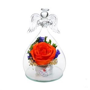 """Цветы в стекле """"Ангел"""" композиция из оранжевой розы (арт. OaSRo)"""