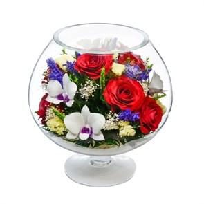 """Цветы в стекле """"Полянка"""" из красных роз и орхидей серии """"Танец цветов"""" (арт. GJM2)"""