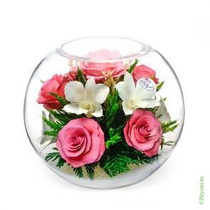 """Цветы в стекле """"Прихоть"""" композиция из роз и орхидей в подарочной упаковке серии """"Флирт"""" (арт. BNMp)"""