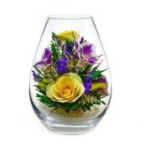 """Натуральные желтые розы и орхидеи в стекле вакууме """"Вспышка"""""""