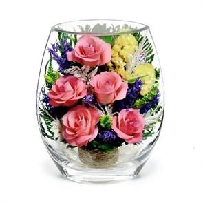 """Композиция из розовых роз """"Рассвет"""" (арт. EHRp-02) в подарочной упаковке"""