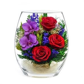 Композиция из красных роз и орхидей (арт. EHM-02) в подарочной упаковке