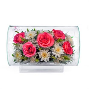 "{{photo.Alt || photo.Description || 'Композиция цветов ""Циркон"" из розовых роз и хризантем (арт.TLM1)'}}"