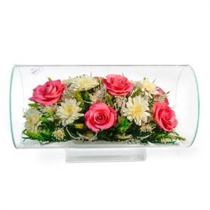 """Композиция из розовых роз и хризантем серии """"Флирт"""" (TJM5) фото"""