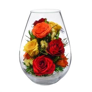 Композиция из натуральных красных, желтых и оранжевых роз (арт. FMR5c2)