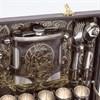 """Набор для пикника и шашлыка """"Люкс"""" на 6 персон (коричневый, фляжка)"""