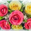 Композиция из  розовых и желтых роз (арт.TLR5с1) в колбе фото вид крупным планом